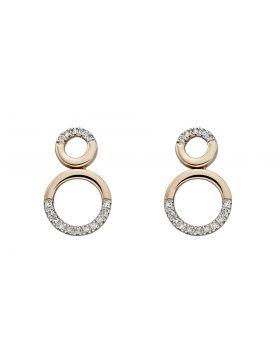 9ct Gold and diamond circular detail earrings