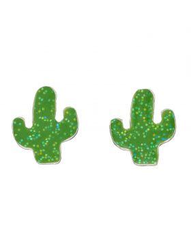 Cactus Enamel Stud Earrings with Glitter (A2068)