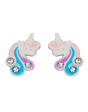 Unicorn Enamel Stud Earrings with CZ (A2072C)
