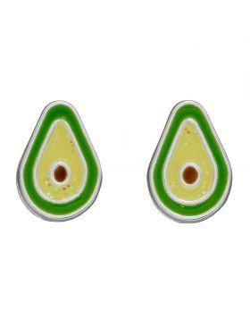 Avocado Enamel Stud Earrings with Glitter (A2078)