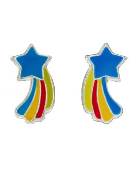 Colourful Shooting Star Enamel Stud Earrings (A2080)
