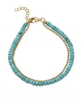 Blue Magnesite Bead Bracelet (B5245T)