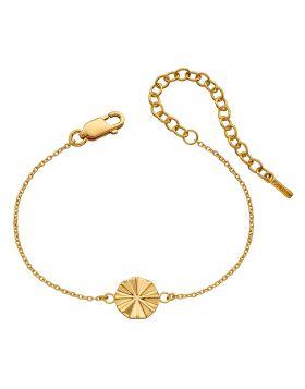 Diamond Cut Bevelled Bracelet with Yellow Gold Plating (B5257)