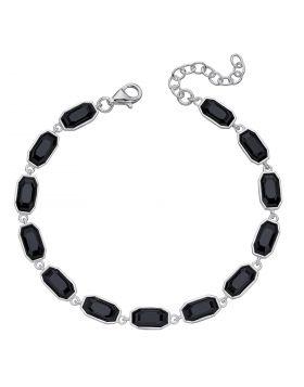Jet Tennis Bracelet with Crystals by Swarovski (B5262B)
