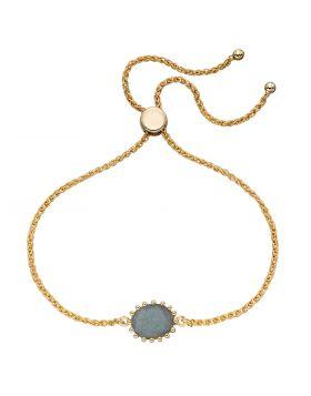 Blue Labradorite Gold Plated Adjustable Bracelet (B5270H)