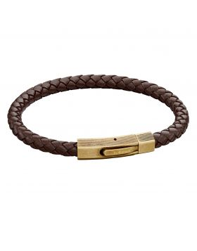 Woven Brown Leather & Bronze Stainless Steel Clip Clasp Bracelet (B5272)
