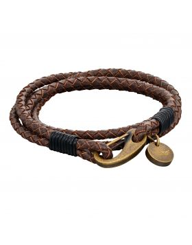 Woven Brown Leather & Bronze Stainless Steel Clasp Bracelet (B5273)