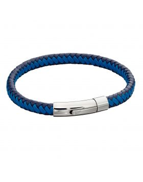 Woven Blue Leather & Stainless Steel Clip Clasp Bracelet (B5275)