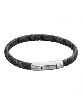 Woven Grey Leather & Stainless Steel Clip Clasp Bracelet (B5276)