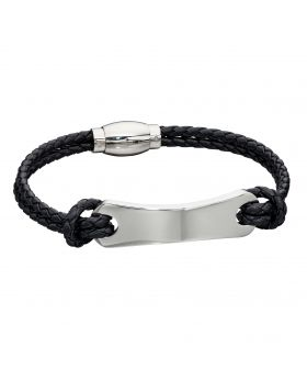 Woven Black Leather & Stainless Steel ID Bar Bracelet (B5277)