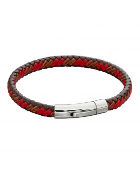 Woven Red Leather & Stainless Steel Clip Clasp Bracelet (B5278)