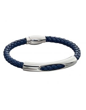 Woven Navy Blue Leather & Stainless Steel Magnetic Clasp Bracelet (B5279)