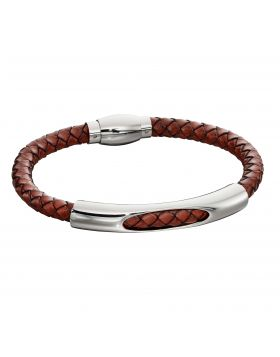 Woven Brown Leather & Stainless Steel Magnetic Clasp Bracelet (B5280)
