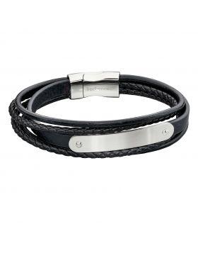 Woven Black Leather & Stainless Steel Multi Strand ID Bar Bracelet (B5282)