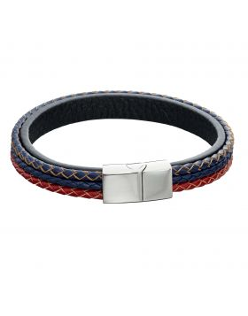 Woven Blue, Red & Grey Leather & Stainless Steel Magentic Clasp Bracelet (B5283)
