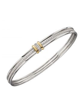 Linked Bangle with Yellow Gold Plating and CZ Detail (B5296C)