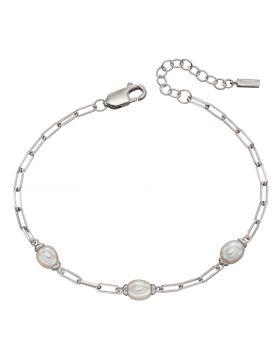 Fresh Water Pearl Long Square Link Bracelet (B5297W)