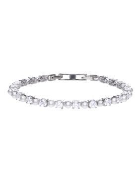 Tennis Bracelet with Pearl & Zirconia (B5302)