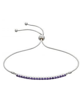 Bar Toggle Bracelet with Amethyst CZ (B5310M)