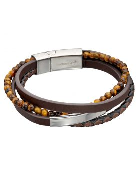 Multi Row Recycled Brown Leather Bracelet with Stainless Steel ID Bar and Tigers Eye Beads (B5317)