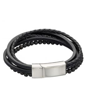 Multi Row Recycled Black Leather Bracelet with Lava Beads (B5318)