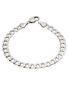 Sterling Silver Diamond Cut Curb Chain Bracelet (B5324)