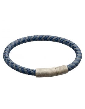 Two Tone Navy Recycled Leather Plaited Bracelet (B5325)