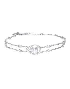 Teardrop Shaped Diamonfire Zirconia Bracelet with Double Chain (B5331)