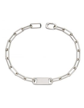 Recycled Silver Link Bracelet with Engravable Bar (B5349)