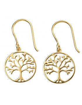 Gold Plated Tree of Life Earrings (E5854)