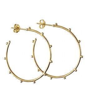 Gold Plated Studded 3/4 Hoops (E5859)