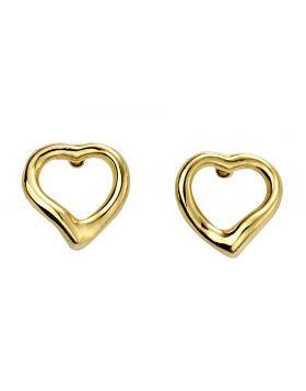 Gold Plated Open Heart Stud Earrings (E5860)