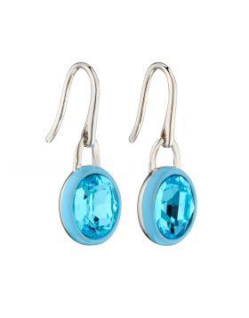 Aqua Crystal Earrings with Blue Enamel Border (E5877A)