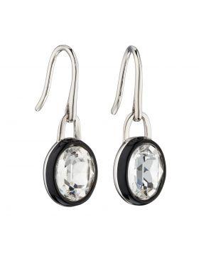 Clear Crystal Earrings with Black Enamel Border (E5879C)