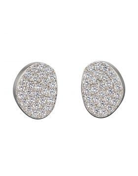 Organic Shape Full Pave CZ Stud Earrings (E5880C)