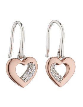 Rose Gold Plated Organic Heart with CZ Earrings (E5881C)