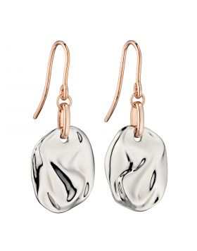 Crinkle Component Silver Earrings with Rose Gold Plating  (E5883)