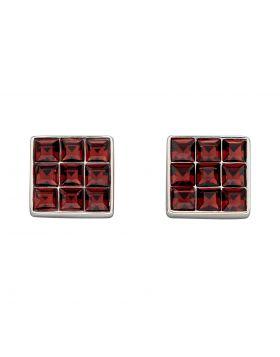 Princess Cut Burgundy Crystal Stud Earrings (E5886R)