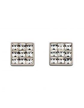 Princess Cut Clear Crystal Stud Earrings (E5887C)