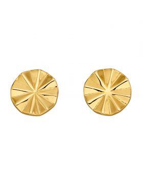 Diamond Cut Bevelled Yellow Gold Plated Stud Earrings (E5890)
