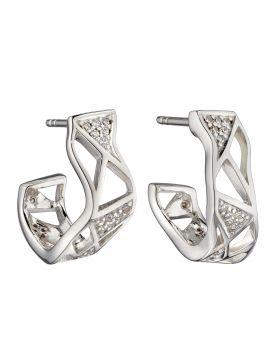 Organic Open Cage CZ Hoop Earrings (E5891C)