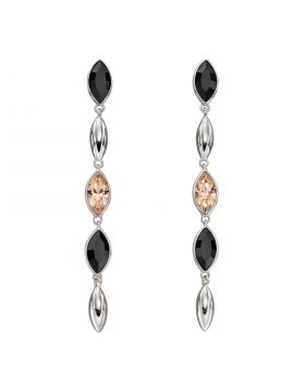 Silver Cascade Earrings with Montana and Peach Crystals (E5896)