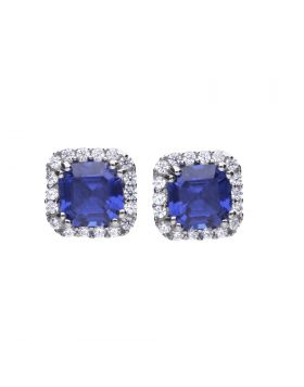 Cushion Cut Sapphire and Clear Earrings with Diamonfire Cubic Zirconia (E5900)