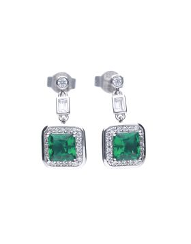 Art Deco Style Emerald Pave Earrings with Diamonfire Cubic Zirconia (E5904)