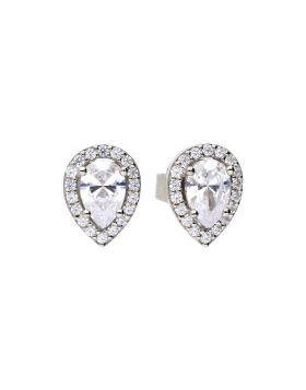 Teardrop Halo Stud Earrings with Diamonfire Cubic Zirconia (E5909)