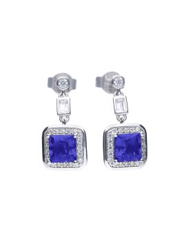 Art Deco Style Sapphire Pave Earrings with Diamonfire Cubic Zirconia (E5912)