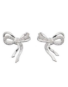 Pave Bow Stud Earrings (E5925C)