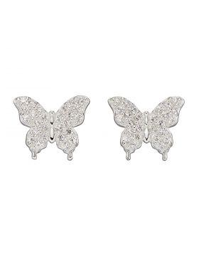 Butterfly CZ Stud Earrings (E5927C)