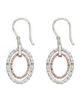 Bamboo Earrings in Silver and Rose Gold Plating (E5930)