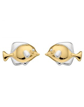 Yellow Gold Plated Fish Stud Earrings (E5931)